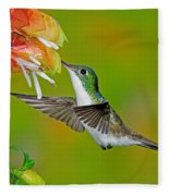 Andean Emerald Hummingbird Fleece Blanket