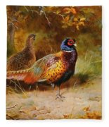 Autumn Covert Pheasants Fleece Blanket