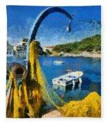 Asos Village In Kefallonia Island Fleece Blanket