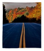 Autumn Colors And Road  Fleece Blanket