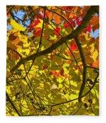 Autumn Maple Leaves Fleece Blanket