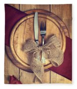 Autumn Table Setting Fleece Blanket
