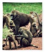 Baboons In African Bush Fleece Blanket