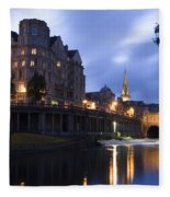 Bath City Spa Viewed Over The River Avon At Night Fleece Blanket