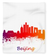 Beijing China Skyline  Fleece Blanket