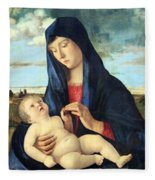 Bellini's Madonna And Child In A Landscape Fleece Blanket