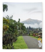 Besakih Temple And Mount Agung View In Bali Indonesia Fleece Blanket