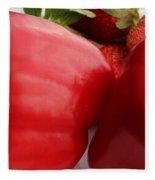 Big Red Peppers And Strawberries  Fleece Blanket