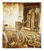 Bikes And A Window Fleece Blanket