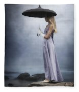 Black Umbrella Fleece Blanket