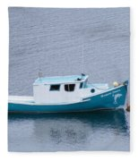 Blue Moored Boat Fleece Blanket