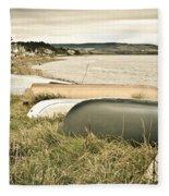 Boats At Findhorn Fleece Blanket