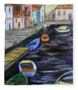 Boats In Front Of The Buildings IIi Fleece Blanket
