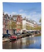 Boats On Amsterdam Canal Fleece Blanket