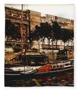 Boats On The Seine Fleece Blanket