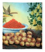 Bond's Still Life Of Bird And Dwarf Pear Tree Fleece Blanket