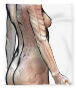 Bones Of The Upper Body Female Fleece Blanket