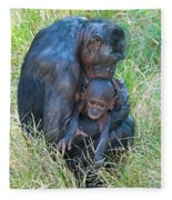Bonobo Mother And Baby Fleece Blanket
