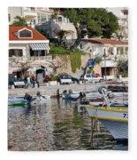 Brela Harbour Croatia Fleece Blanket