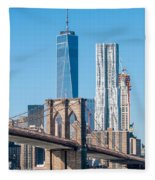 Brooklyn Bridge And New York City Manhattan Skyline Fleece Blanket