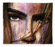 Brown Iris Entangled Fleece Blanket