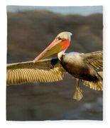 Brown Pelican In Flight Fleece Blanket