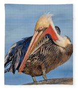 Brown Pelican Preening Fleece Blanket