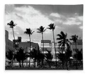 Buildings Lit Up At Dusk, Ocean Drive Fleece Blanket