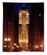 Buildings Lit Up At Night, Chicago Fleece Blanket