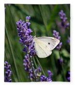 Cabbage White Butterfly Fleece Blanket