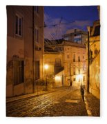 Calcada Da Gloria Street At Night In Lisbon Fleece Blanket