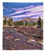 Canadian Rockies Stream Fleece Blanket