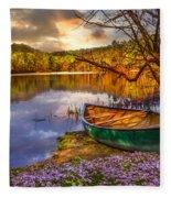 Canoe At The Lake Fleece Blanket