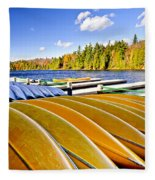 Canoes On Autumn Lake Fleece Blanket