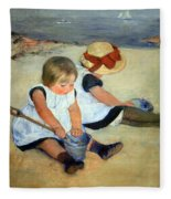 Cassatt's Children Playing On The Beach Fleece Blanket