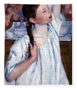 Cassatt's Girl Arranging Her Hair Fleece Blanket
