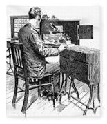 Census Machine, 1890 Fleece Blanket