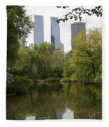Central Park Pond Fleece Blanket