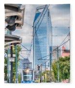 Charlotte North Carolina Light Rail Transportation Moving System Fleece Blanket
