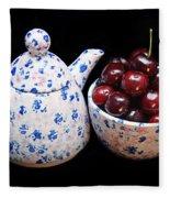 Cherries Invited To Tea Fleece Blanket