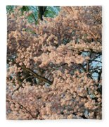 Cherry Blossoms In Pink And Brown Fleece Blanket