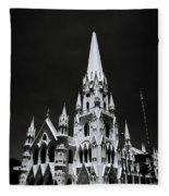 Black And White Basilica Fleece Blanket