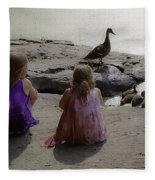 Children At The Pond 3 Fleece Blanket