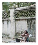 Children On Street Of Yangon Myanmar Fleece Blanket
