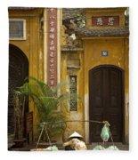 Chinese Temple In Hanoi Vietnam Fleece Blanket