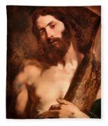 Christ Carrying The Cross Fleece Blanket