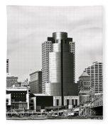 Cincinnati Black And White Panorama Fleece Blanket
