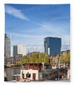 City Of Rotterdam In Netherlands Fleece Blanket