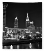 Cleveland In Black And White Fleece Blanket