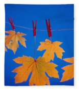 Close-up Of Fall Colored Maple Leaves Fleece Blanket
